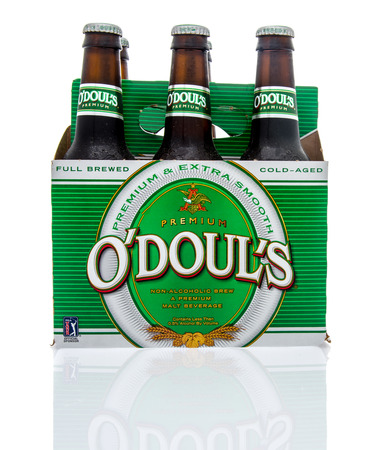 6 pack beer: Winneconne, WI - 16 March 2016: Six pack of Odouls non-alcoholic malt beverage.