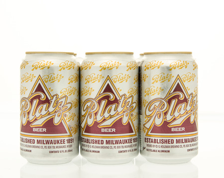 6 pack beer: Winneconne, WI - 15 March 2016:  A six pack of Blatz beer in cans. Editorial