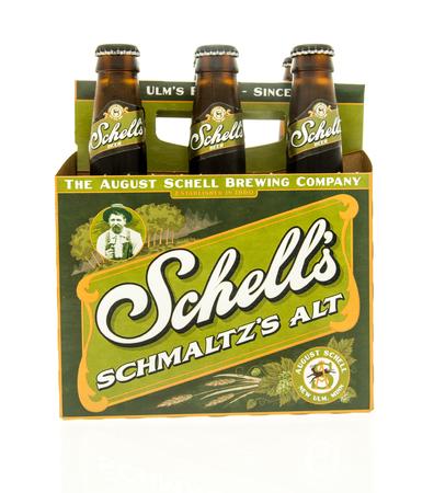 alt: Winneconne, WI - 15 March 2016:  A six pack of  Shells Schmaltzs alt beer