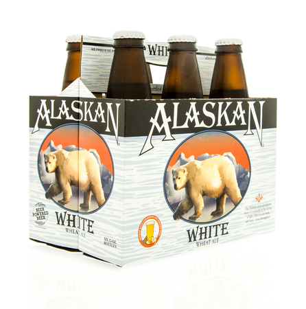 6 12: Winneconne, WI - 15 March 2016:  A six pack of  Alaskan white beer Editorial