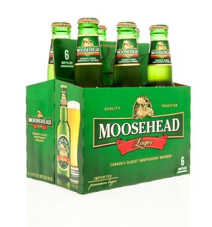 6 pack beer: Winneconne, WI - 15 March 2016:  A six pack of Moosehead beer