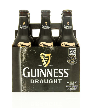 6 pack beer: Winneconne, WI - 15 March 2016:  A six pack of Guinness draught beer