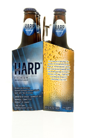 6 pack beer: Winneconne, WI - 15 March 2016:  A six pack of Harp beer Editorial