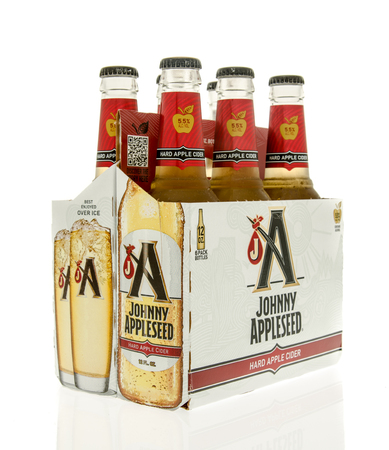 6 pack beer: Winneconne, WI - 15 March 2016:  A six pack of Johnny Appleseed hard cider