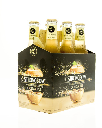 6 pack beer: Winneconne, WI - 15 March 2016:  A six pack of Strongbow hard cider in gold flavor