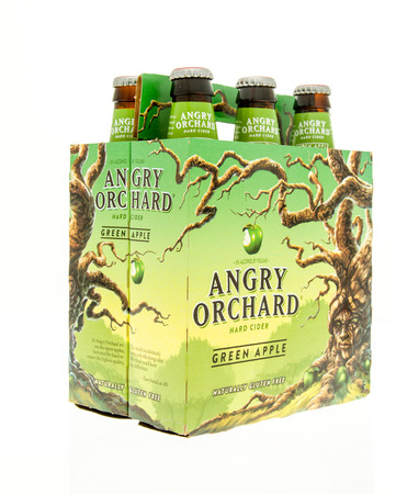 6 pack beer: Winneconne, WI - 15 March 2016:  A six pack of Angry Orchard hard cider in green apple flavor