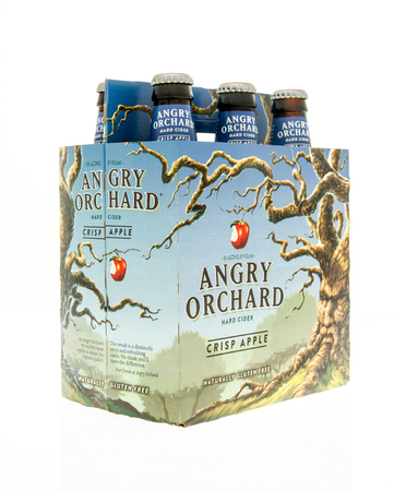 6 pack beer: Winneconne, WI - 15 March 2016:  A six pack of Angry Orchard hard cider in crisp apple flavor