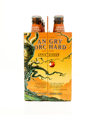 6 pack beer: Winneconne, WI - 15 March 2016:  A six pack of Angry Orchard hard cider in apple ginger flavor