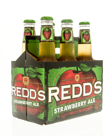 ale: Winneconne, WI - 15 March 2016:  A six pack of Redds strawberry ale