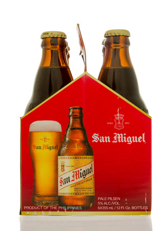 6 pack beer: Winneconne, WI - 14 March 2016: A six pack of San Miquel beer.  The number one selling in the Philippines.