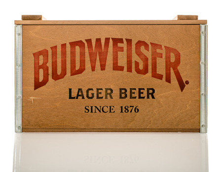 budweiser: Winneconne, WI - 12 March 2016: A wood crate  of Budweiser lager beer. Editorial
