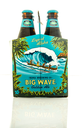 kona: Waupun, WI - 9 March 2016: Six pack of Big Wave beer from the Kona brewing company
