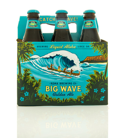6 pack beer: Waupun, WI - 9 March 2016: Six pack of Big Wave beer from the Kona brewing company
