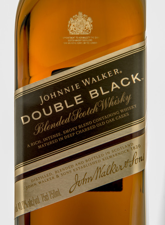 double volume: Winneconne, WI - 10 March 2016: A close up shot of Johnnie Walker double black whisky