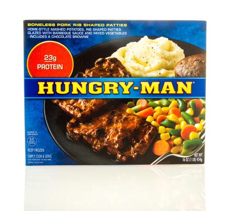 boneless: Waupun, WI - 9 March 2016: Box of Hungry-man boneless pork rib shaped patties frozen dinner Editorial