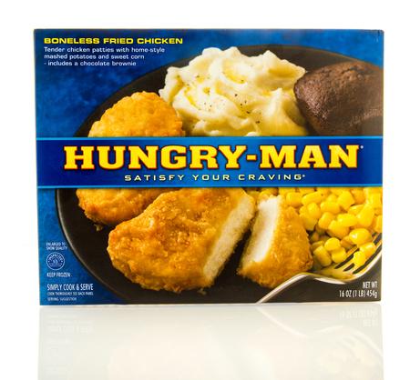 boneless: Waupun, WI - 9 March 2016: Box of Hungry-man boneless fried chicken patties frozen dinner Editorial