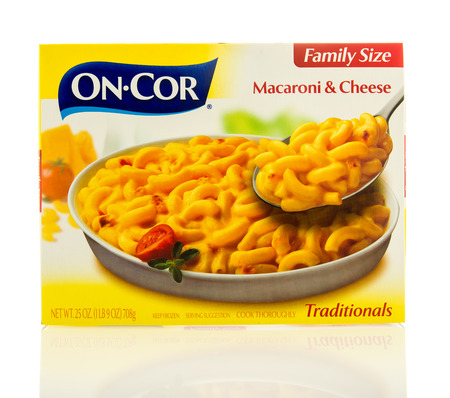 cor: Waupun, WI - 9 March 2016: Box of On-Cor macaroni & cheese in family size Editorial