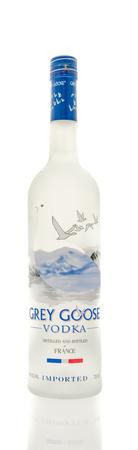 Winneconne, WI - 15 March 2016:  A bottle of Grey Goose vodka from France.