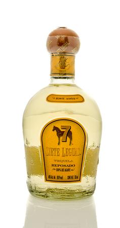 siete: Winneconne, WI - 19 March 2016:  A bottle of Siete Leguas tequila