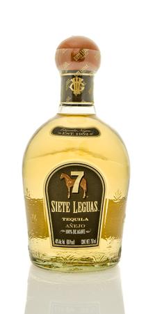 siete: Winneconne, WI - 19 March 2016:  A bottle of Siete Leguas anejo tequila