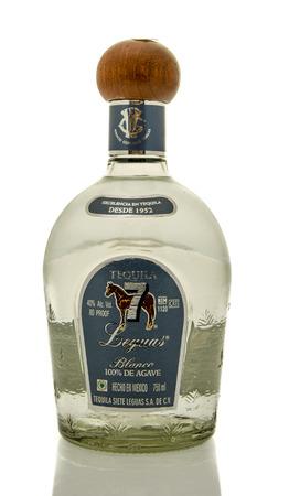 siete: Winneconne, WI - 19 March 2016:  A bottle of Siete Leguas blanco tequila Editorial