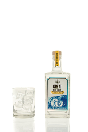 Winneconne, WI - 15 March 2016:  A bottle of Great Northern vodka with  a glass of ice