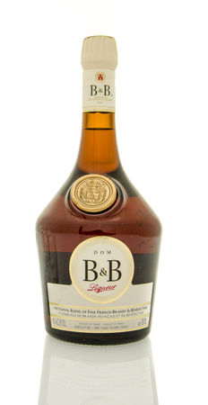 bb: Winneconne, WI - 19 March 2016:  A bottle of Dom B&B Liqueur
