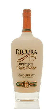 liquid reflect: Winneconne, WI - 19 March 2016:  A bottle of Ricura Horchata cream liqueur