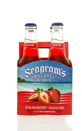 escapes: Winneconne, WI - 15 March 2016:  A six pack of  Seagrams Escapes wine coolers in strawberry daiquiri flavor