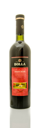 pinot noir: Winneconne, WI - 16 March 2016:  A bottle of Bolla wine in pinot noir flavor on a white background. Editorial