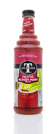 mr and mrs: Winneconne, WI - 16 March 2016: Bottle of Mr & Mrs T bloody mary mix on an isolated background. Editorial