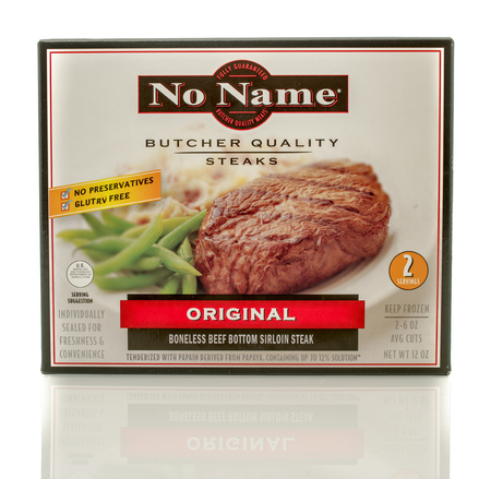 no name: Winneconne, WI - 30 March 2016: Box of No Name butcher quality steaks in original flavor Editorial