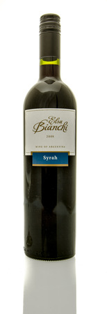 syrah: Winneconne, WI - 16 March 2016:  A bottle of Elsa Bianchi wine in syrah flavor.