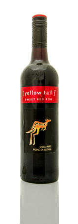roo: Winneconne, WI - 16 March 2016:  A bottle of Yellow Tail wine in sweet red roo flavor. Editorial