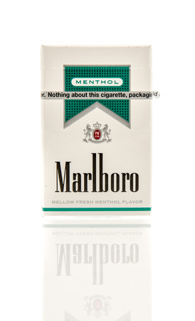 Winneconne, WI - 16 March 2016:  A box of Marlboro menthol cigarettes on an isolated background