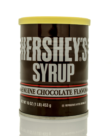 hershey's: Winneconne, WI - 30 March 2016: Can of genuine Hersheys chocolate syrup