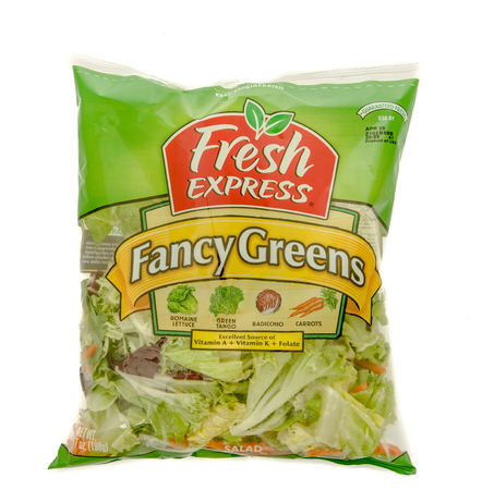 fancy bag: Winneconne, WI - 20 April 2016:  Bag of fancy greens mix salad by Fresh Express on an isolated background Editorial
