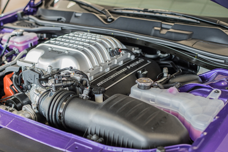 horsepower: Waupun, WI - 8 March 2016:  An engine to the Dodge Challenger Hellcat that is supercharged and creates 707 horsepower. Editorial