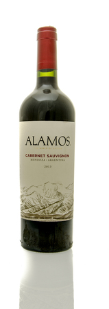 cabernet: Winneconne, WI - 16 March 2016:  A bottle of Alamos wine in Cabernet sauvignon flavor Editorial