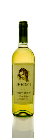 pinot grigio: Winneconne, WI - 16 March 2016:  A bottle of DaVinci wine in pinot grigio  flavor on a white background.