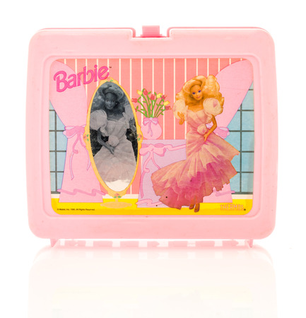 barbie: Winneconne, WI - 29 March 2016:  Plastic lunch box from the 1980s featuring Barbie, a very popular doll for girls. Editorial