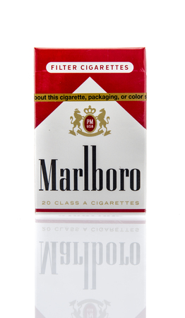 Winneconne, WI - 16 March 2016:  A box of Marlboro red cigarettes known an cowboy killers.
