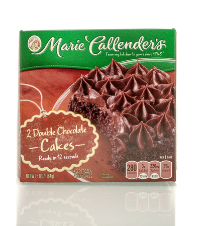 marie: Winneconne, WI - 30 March 2016: Box of Marie Callenders double chocolate cake on an isolated background