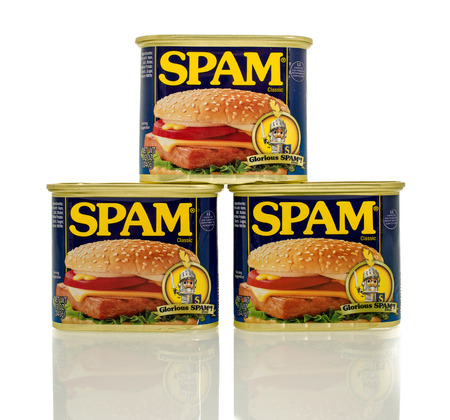 Winneconne, WI - 30 March 2016: Containers of Spam which is precooked  meat containing pork.