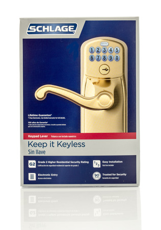 keyless: Winneconne, WI - 12 April 2016:  Box of a Schlage keypad entry on an isolated background.