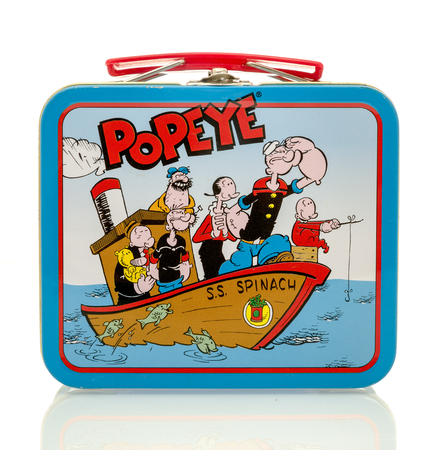 Winneconne, WI - 13 April 2016:   Lunch box featuring Popeye on an isolated background. Éditoriale