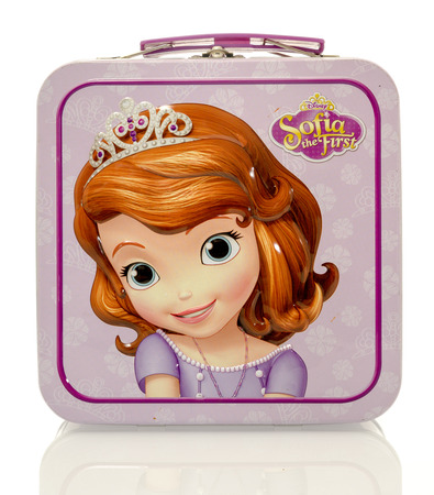 Winneconne, WI - 13 April 2016:   Lunch box featuring Sofia the first on an isolated background.