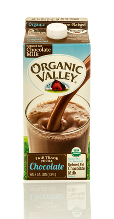 Winneconne, WI - 17 April 2016:  Container of Organic Valley chocolate milk on an isolated background