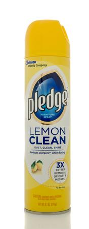pledge: Winneconne, WI - 20 April 2016:  Bottle of Pledge lemon clean on an isolated background Editorial