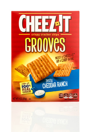 cheez: Winneconne, WI - 26 April 2016: Box Cheez it grooves in zest cheddar ranch flavor on an isolated background